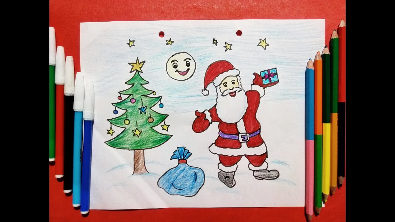 Happy Christmas drawing for kids || how to draw Santa Claus. - YouTube