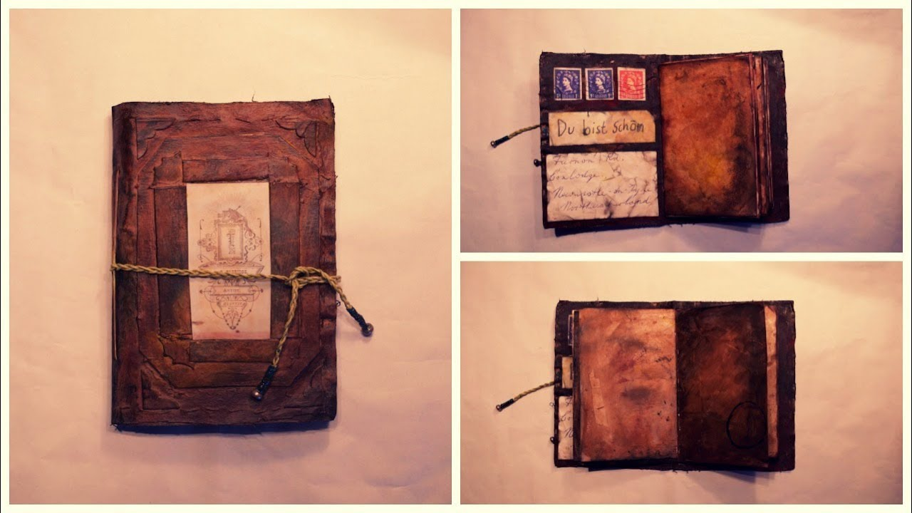 How To Make A Book Cover Look Old And Worn ~ Diy vintage journal youtube