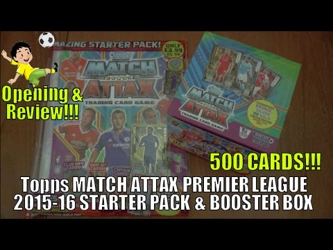YouTube PREMIERE ⚽️ UNBOXING BOOSTER BOX (500 CARDS!) ⚽️ topps MATCH ATTAX BPL 2015/16 Trading Cards