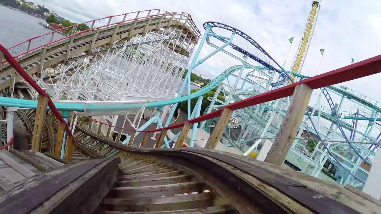 Twister Wooden Roller Coaster POV Grona Lund Sweden 2014 - YouTube