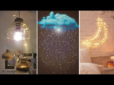 DIY Room Decor! DIY Amazing Raining Cloud With Light (DIY Wall Hanging Ideas, Lights, etc.)