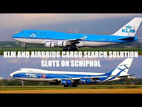 KLM and AirBridgeCargo boeing 747's at Schiphol.