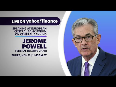 Fed Chair Jerome Powell speaks at the European Central Bank Forum