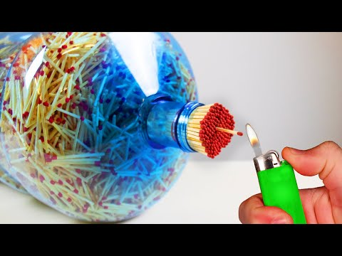 MASSIVE MATCH BOTTLE FIRE VOLCANO