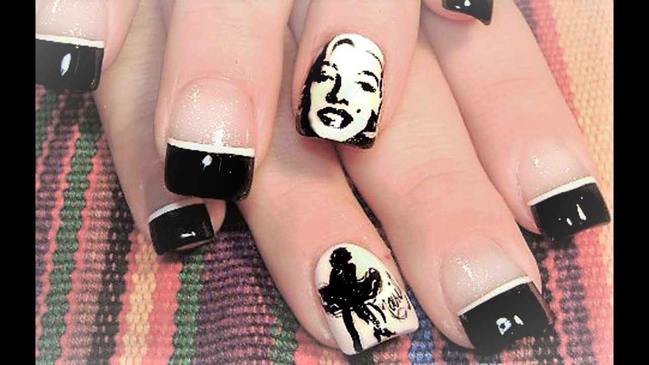 Marilyn Monroe Nails | Pin Up Nail Art Design Tutorial - YouTube