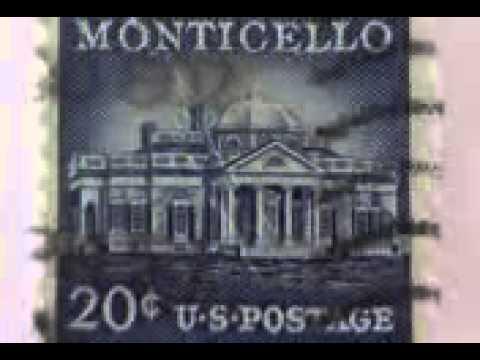 1956 US Monticello 20 cent Postage Stamp