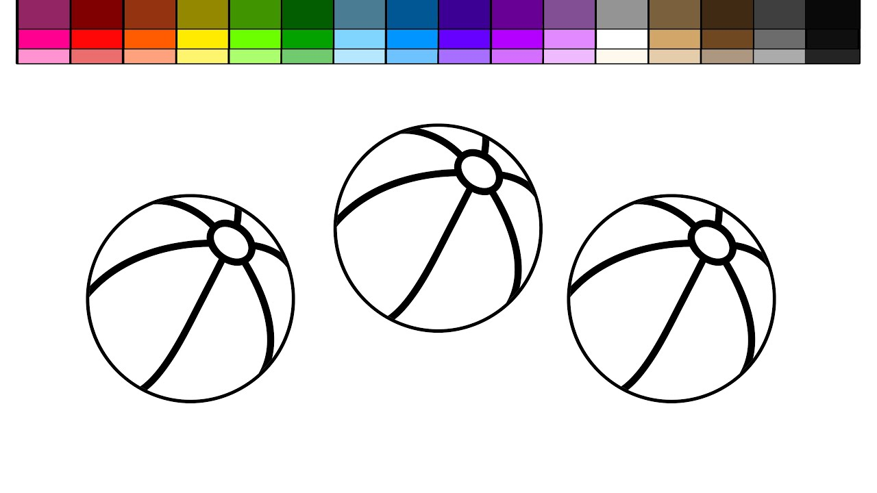 learn colors for kids and color beach ball coloring page youtube - Beach Ball Coloring Page Printable