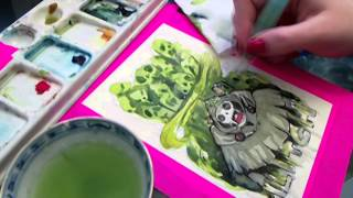 Sketch a Day #61 The Lich from Adventure Time Watercolor Tutorial Walkthrough