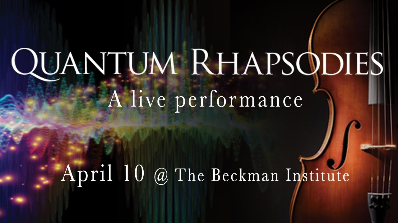 A screenshot from Quantum Rhapsodies, a live performance exploring quantum physics and its role in our universe