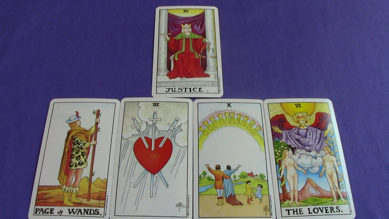 Page of Wands, Three of Swords, Ten of Cups, The Lovers and Justice Tarot  Cardsn a Reading