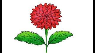 Dahlia Flower Drawing very easy and simple | Sayataru Creation