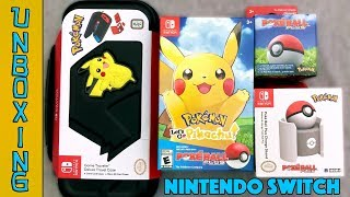 UNBOXING! Pokemon Let's Go Pikachu with Poke Ball Plus Bundle, Hori Charge Stand and More!