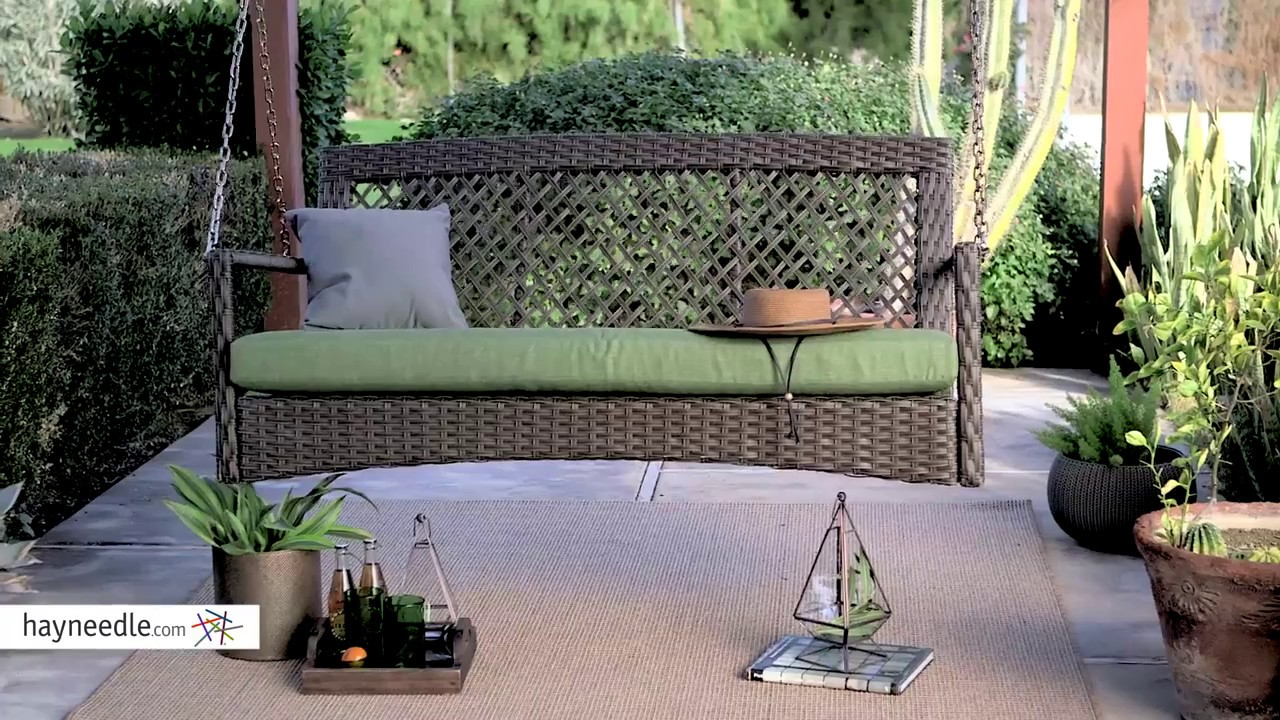 porch patio swing wicker quick p resin ceiling chair view espresso wchains hanging hanger tree bench