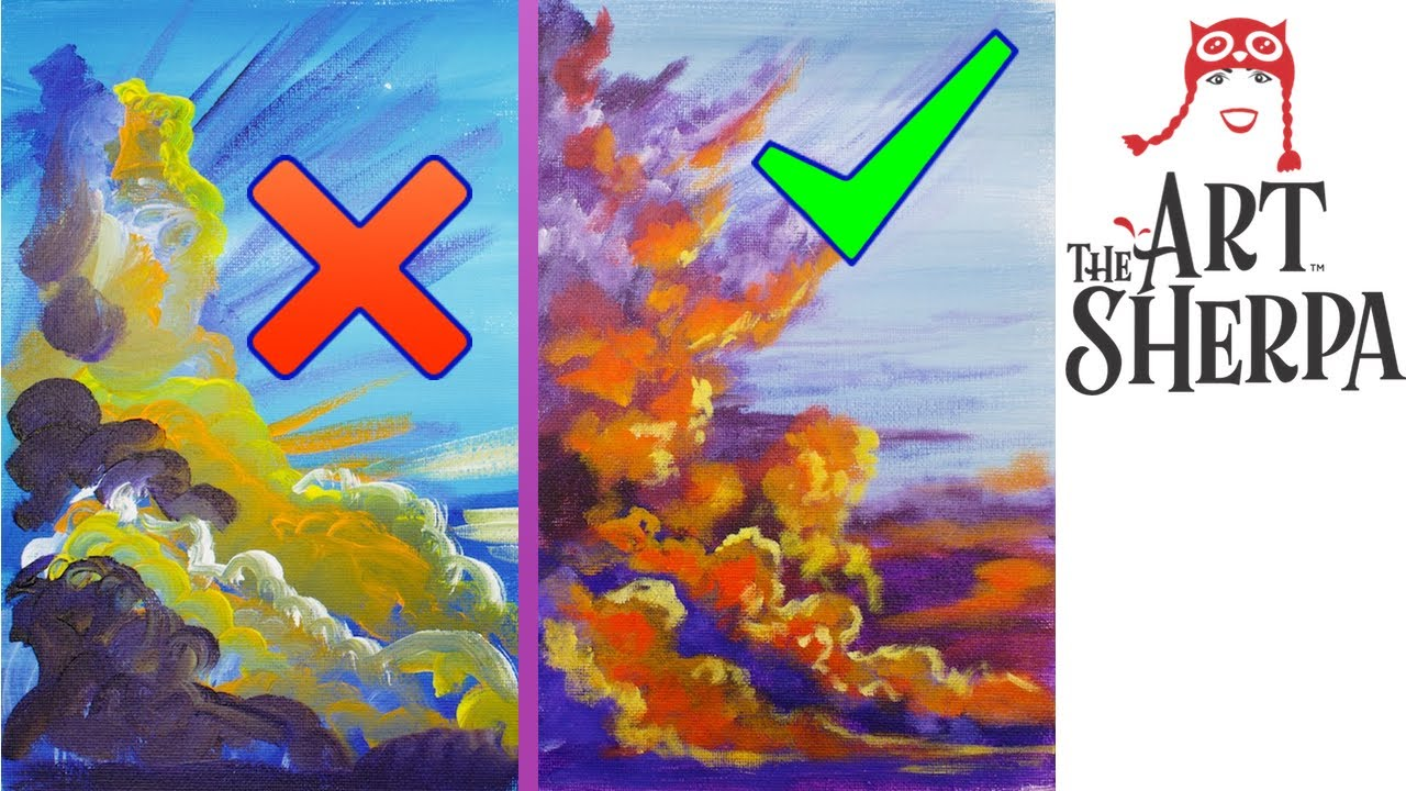 Clouds at Sunset Dos and Dont's how to Paint Better with Acrylics for New  artists