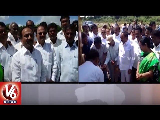 Minister Etela Rajender Inaugurates Kakatiya Canal Repair Works | Huzurabad | V6 News