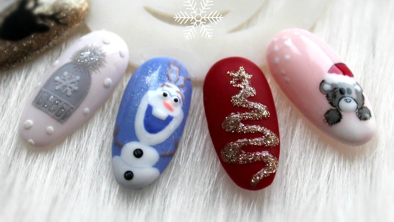 Zimowe świąteczne Paznokcie Hybrydowe Cz3 Winter Nail Ideas