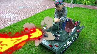 Senya Unboxing TANK Pretend Play and Playing with POWER Wheel TANK thumbnail