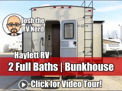 2014 Wildwood Heritage Glen 356QBQ Used Two Full Bath Bunkhouse Outside Kitchen Fifth Wheel