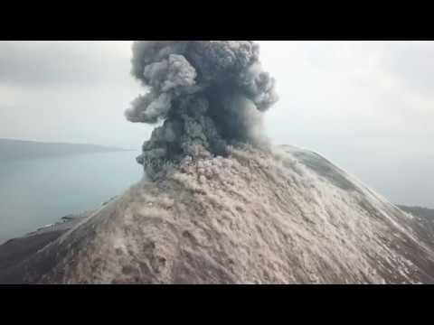 Spectacular Drone Footage Explosive Eruptions At Anak Krakatau Volcano