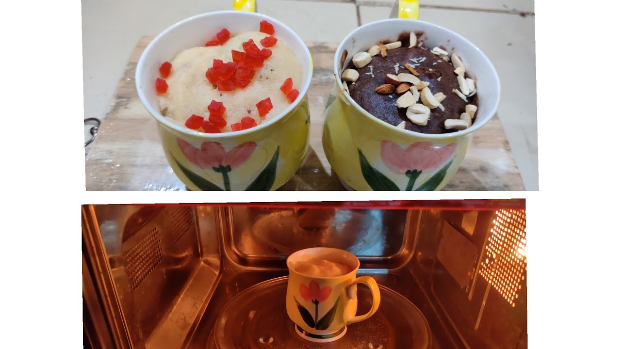 1 min Eggless Mug Cake Recipe in Microwave / 2 way Mug ...