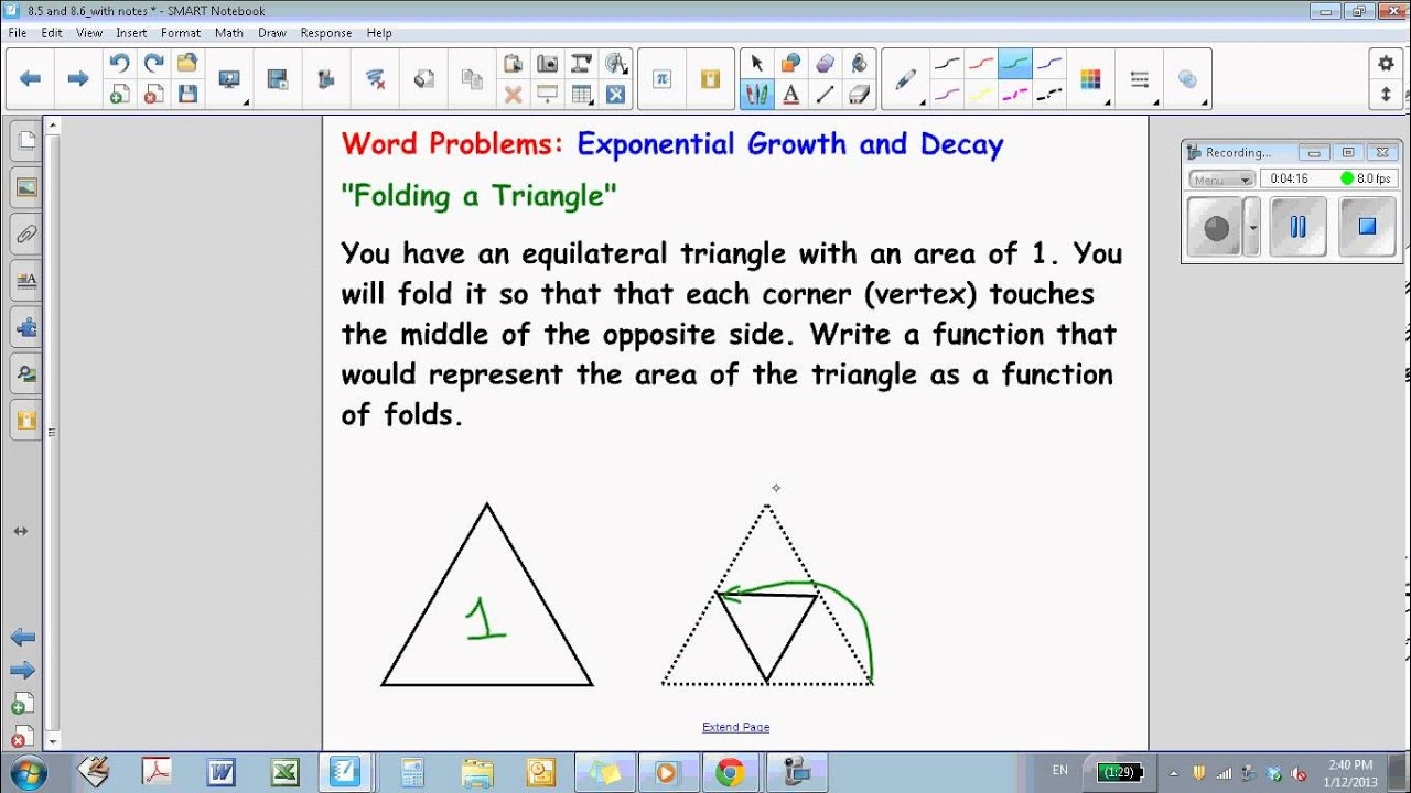 Algebra 1 8 5 And 8 6 Exponential Growth And Decay Word Problems
