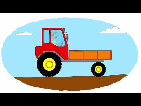 Мультик - Раскраска. Учим Цвета - Тракторы - Часть 3