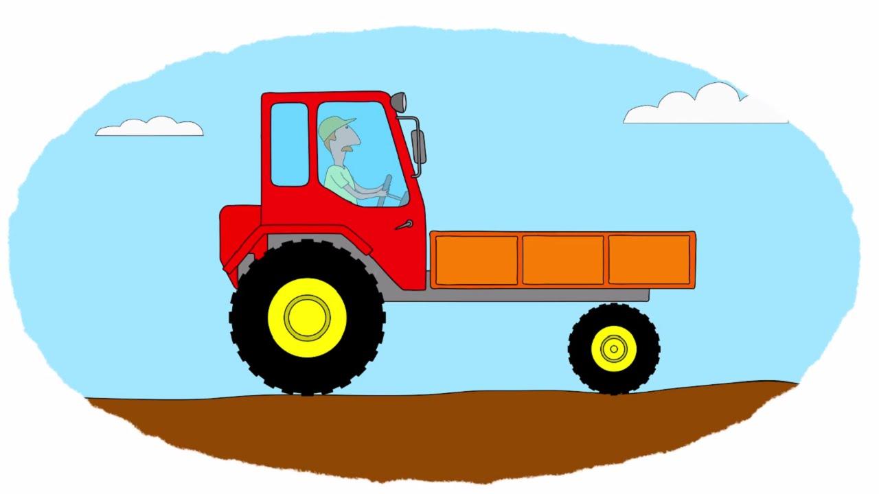 Мультик - Раскраска. Учим Цвета - Тракторы - Часть 3 - YouTube