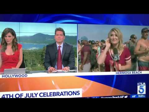 KTLA TV News reporter Wendy Burch gets puked on during live Fourth of July TV broadcast