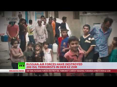 Russian air force destroys 200+ ISIS terrorists heading for Deir ez-Zor, Syria  MoD