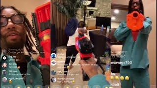 PnB Rock Has A NERF Shootout In Mansion 🔫