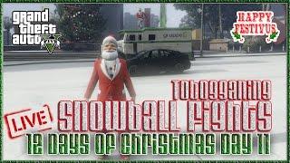 "GTA 5 Next Gen  ""GTA V Snowball Fights Tobogganing 12 Days of Christmas Day 11"" GTAV  Gameplay"