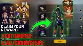 Free All Characters & Level 8 Card , Incubator Voucher in freefire || Free Emotes In Freefire
