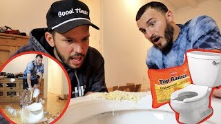 Download Fixing a Toilet with Ramen Noodles! (DIY FAIL) Mp3 and Videos