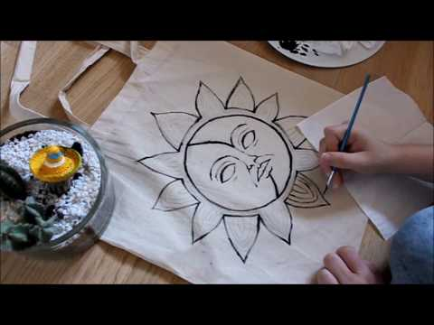 painting on a tote bag | the Sun & the Moon