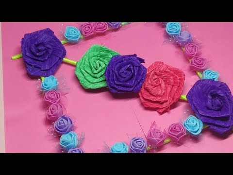 Diy paper flower wall hanging / Easy Home decor-best rose decor
