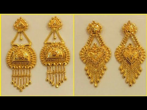 latest-pure-gold-earring-designs-  -gold-jhumka,-hoop-&-plated-earrings-collection-  -s.c