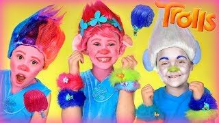 Hasbro Trolls Hair Huggers! Poppy and Guy Diamond Makeup and Hair Makeover