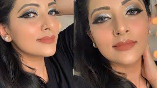 Glittery eyes makeup || engagement bride makeup || bold eye makeup ||