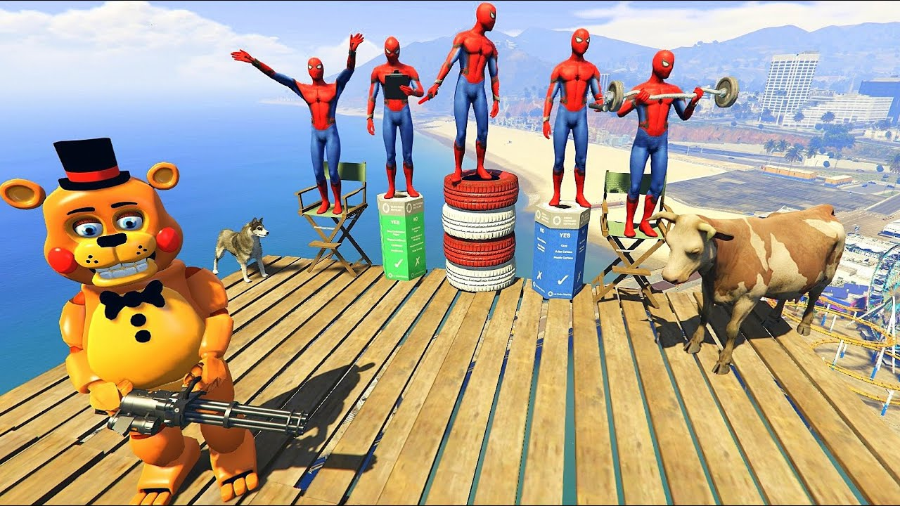GTA 5 Crazy Ragdolls Toy Freddy VS Spiderman Compilation vol.1 (Euphoria Physics   Funny Moments )