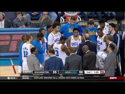 Washington vs UCLA basketball 59-57 February 7, 2013 highlights montage gameplay