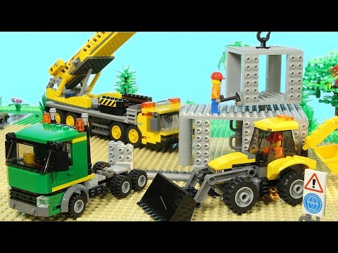 Lego Construction Site (Skyscraper Building, Mobile Crane, Excavator, Toy Vehicles for Kids)