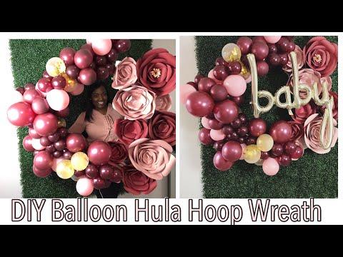 DIY Balloon Hula Hoop Wreath Tutorial with Paper Flowers