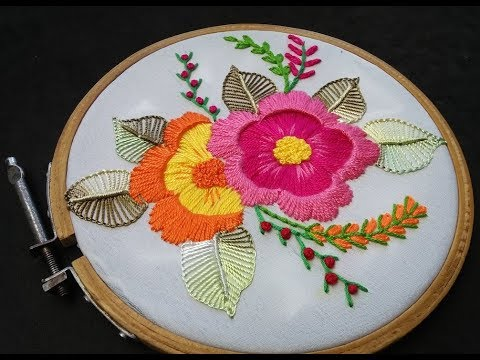 Hand Embroidery - Buttonhole Stitch Flower Embroidery