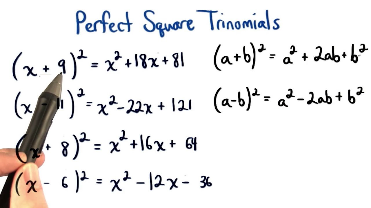 Perfect Square Trinomials Missing Numbers  Visualizing Algebra