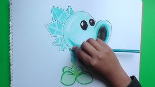 Dibujar Lanzaguisantes Congelados (Plants vs Zombies) - Draw Peashooter Frozen