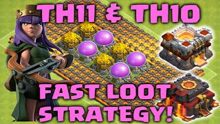 Clash of Clans - TH11 & TH10 Farming Strategy for Fast Gold, Elixir & Dark Elixir! (Attack Strategy)