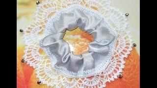 Резинка для волос Белоснежка - Crochet Scrunchy - вязание крючком по ткани