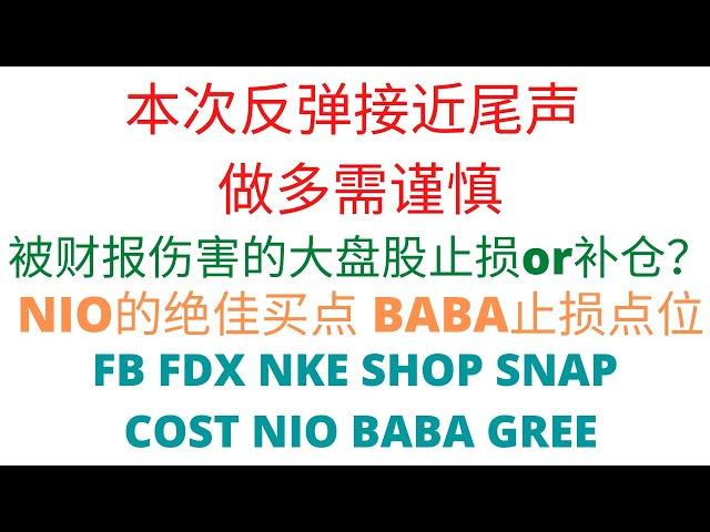 第293期「幂的暴涨股」风险提示,谨慎做多   强势股大盘股入场点位   NIO的绝佳买点   BABA扶不起   FB FDX NKE SHOP SNAP COST NIO BABA GREE