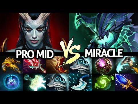 MIRACLE Outworld Devourer VS Pro Mid Queen Of Pain - Brutal Refresher OD 7.22 Dota 2