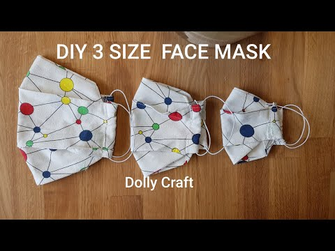 How To Make Face Mask DIY-KIDS(S)KIDS(M)-ADULTS3 SIZE FACE MASK PLEATS TYPE #sewing craft